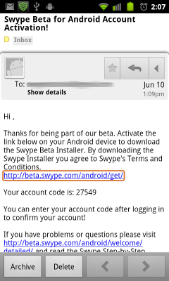 Swype email
