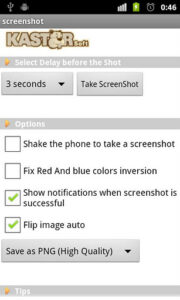 Screenshot aplicativo Android