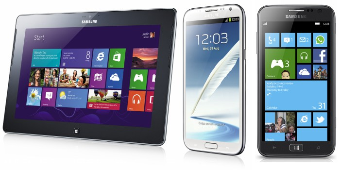 Samsung tablet e smartphone Android windows