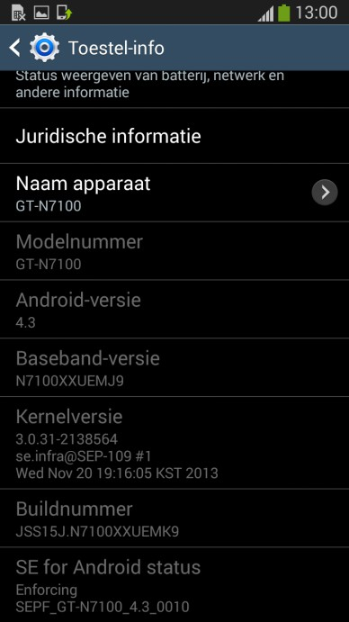 Galaxy Note 2 Android 4.3 Jelly Bean