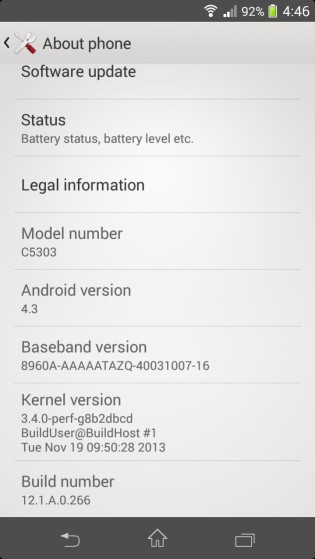 Sony Xperia SP Android 4.3