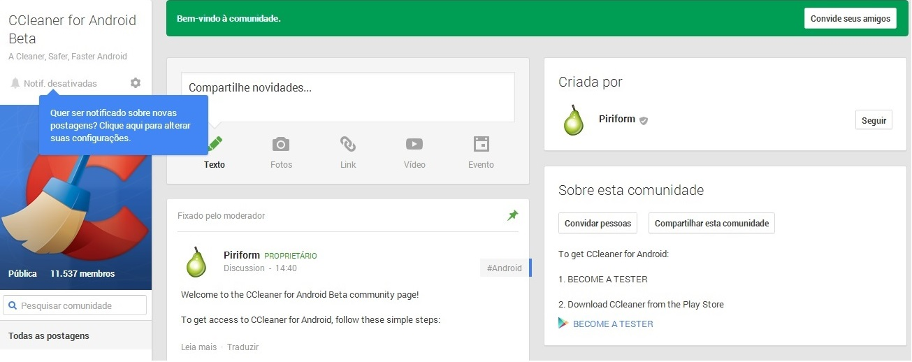 CCleaner Android comunidade