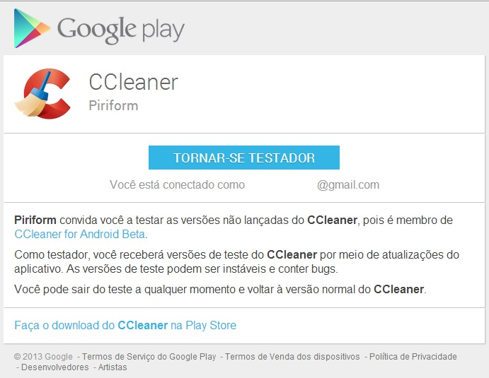 CCleaner Android testador