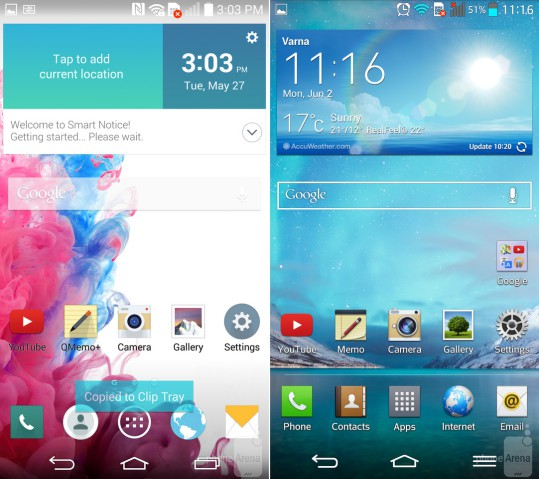 Interface LG G3 e LG G2