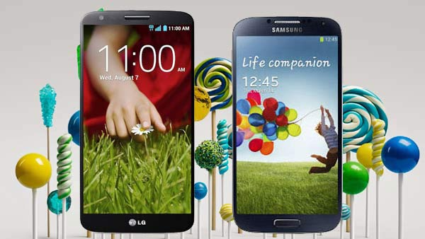 """LG G2 """"F320"""" e Galaxy S4 """"GT-I9500"""" Android 5.0 Lollipop"""