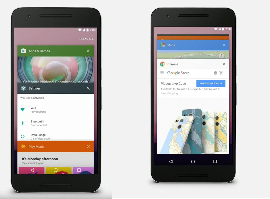 Android N apps abertos