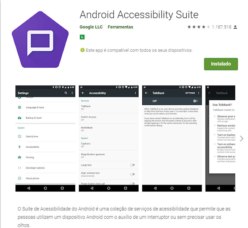 Suite de Acessibilidade do Android (Android Accessibility Suite)