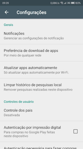 Preferência de download de apps Google Play