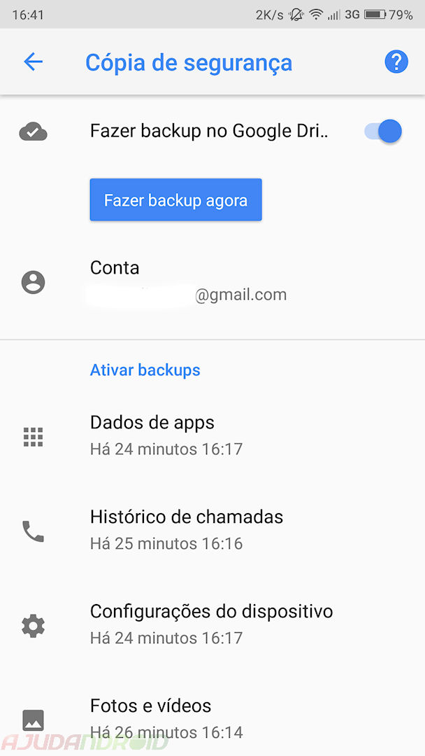 Google Drive backup manual dos dados do Android