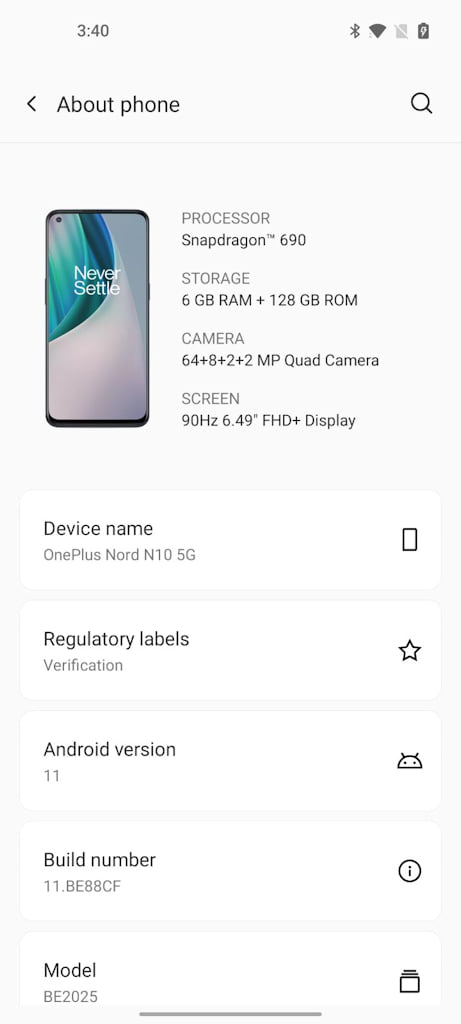 OnePlus Nord 10 Android 11